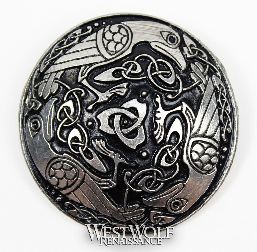 Large Celtic Raven Brooch or Cloak Pin