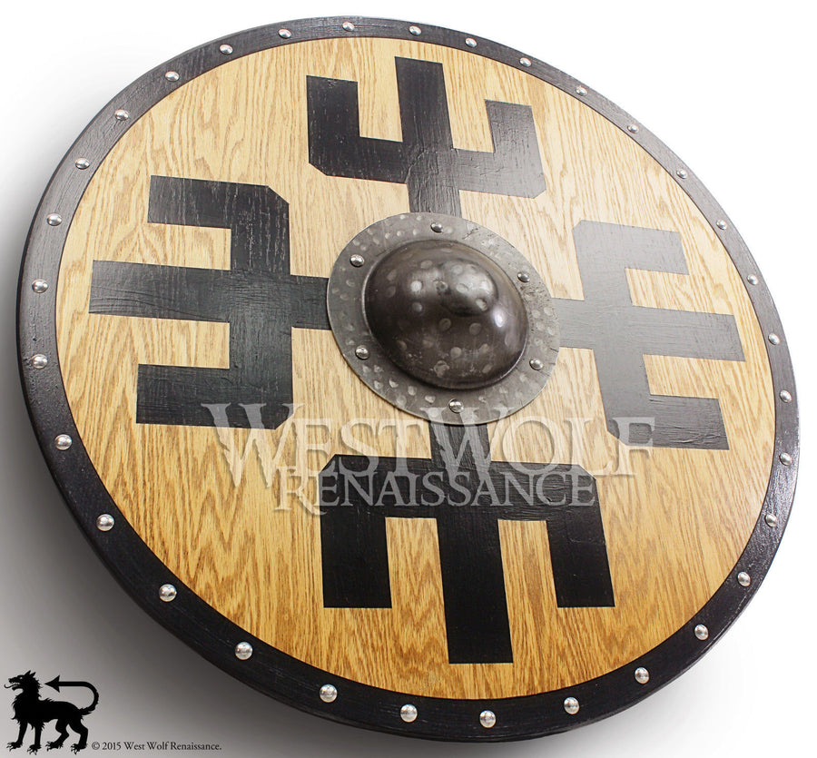 Solid Oak Viking Protection Symbol Shield