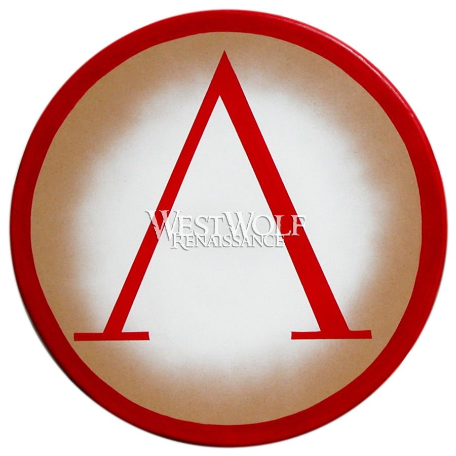 Classic Round Greek Red Lambda Shield with Natural Wood