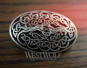 Celtic Knotted Tree of Life Oval Brooch or Cloak Pin