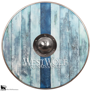 Aged Wood Viking Shield in Glacier Blue