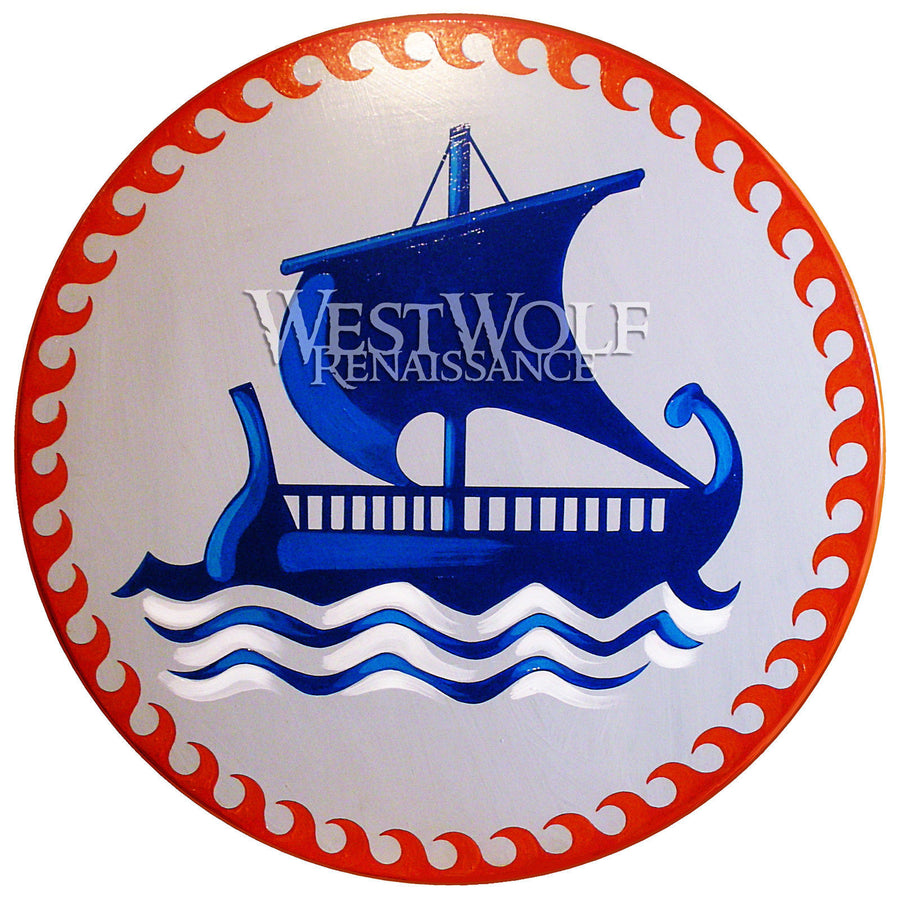 Round Greek Sailing Ship Shield with Wave Border Pattern