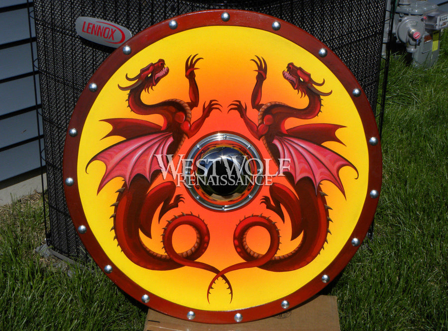 Hand-Painted Viking Double Dragon Shield
