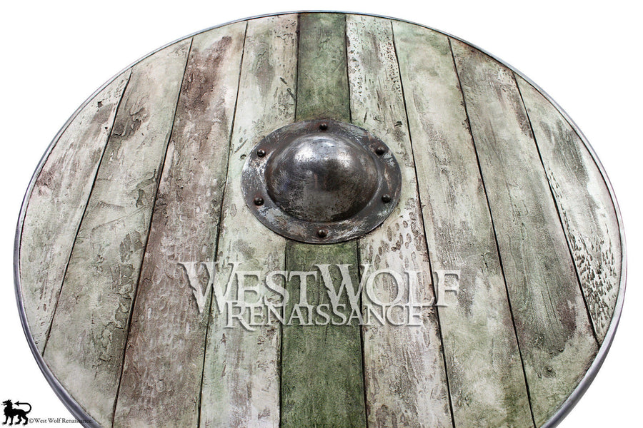Aged Wood Viking Shield in Winter Moss