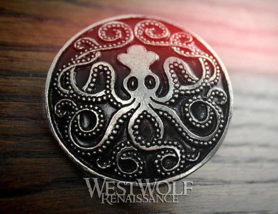 Celtic Kraken Octopus Brooch or Cloak Pin
