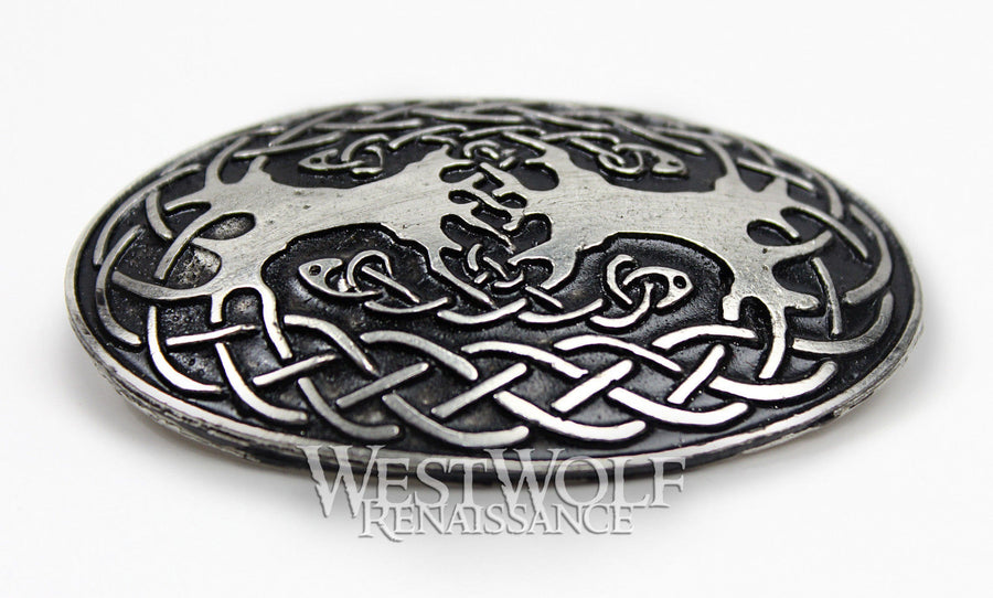 Large Celtic Tree of Life Oval Brooch or Cloak Pin
