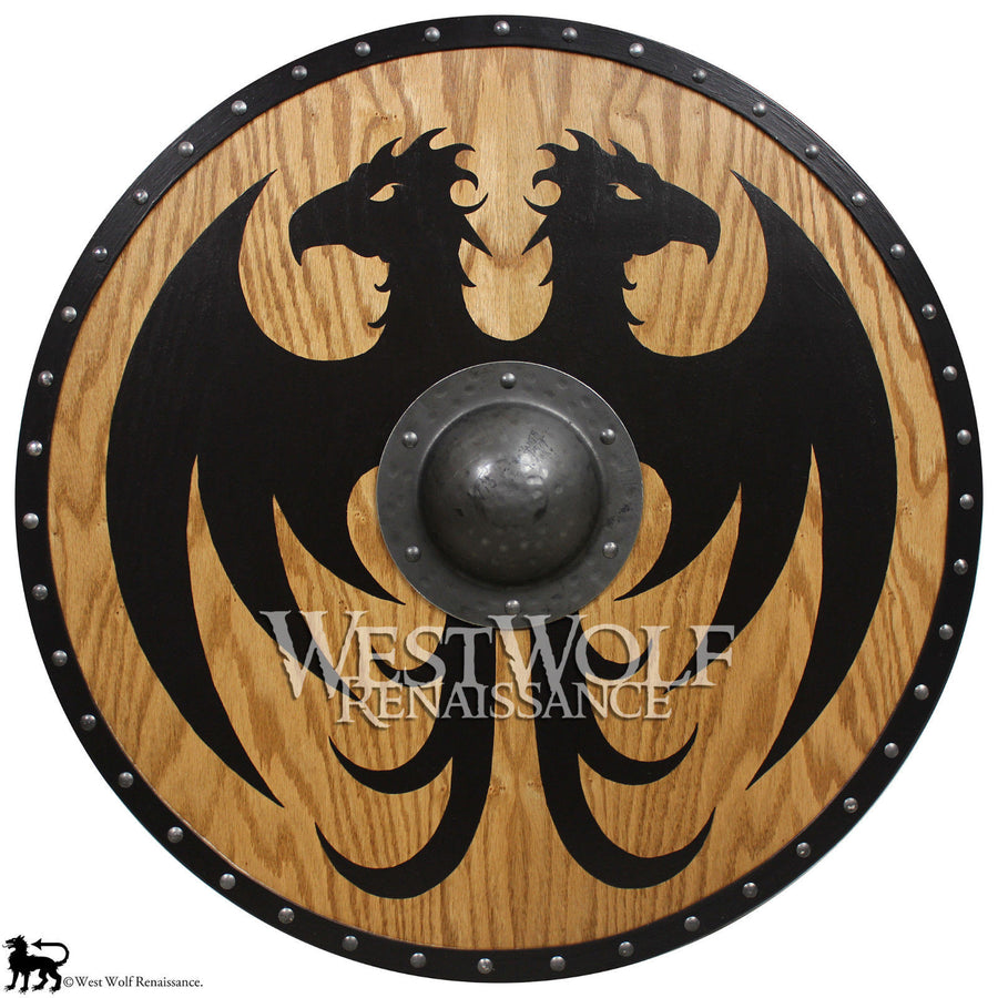 Solid Oak Viking Vulture Shield - Forged Iron Boss
