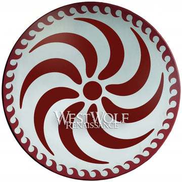Greek Spiral Shield with Wave Border