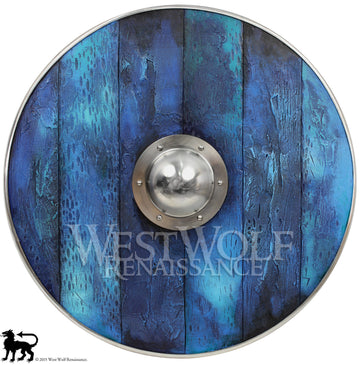 Aged Wood Viking Shield in Oceanic Blue