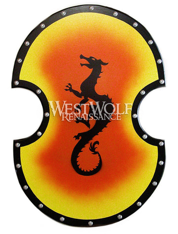 Large Greek Dragon Shield with Sunburst Background