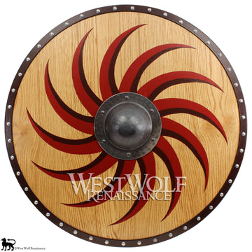 Golden Oak Viking Claw Spiral Shield - Forged Iron Boss