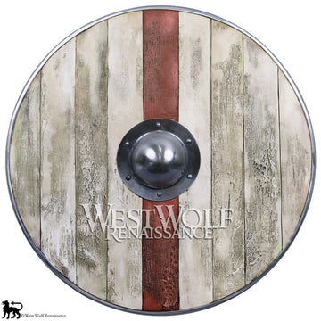 Aged Wood Plank Viking Shield with Crimson Stripe