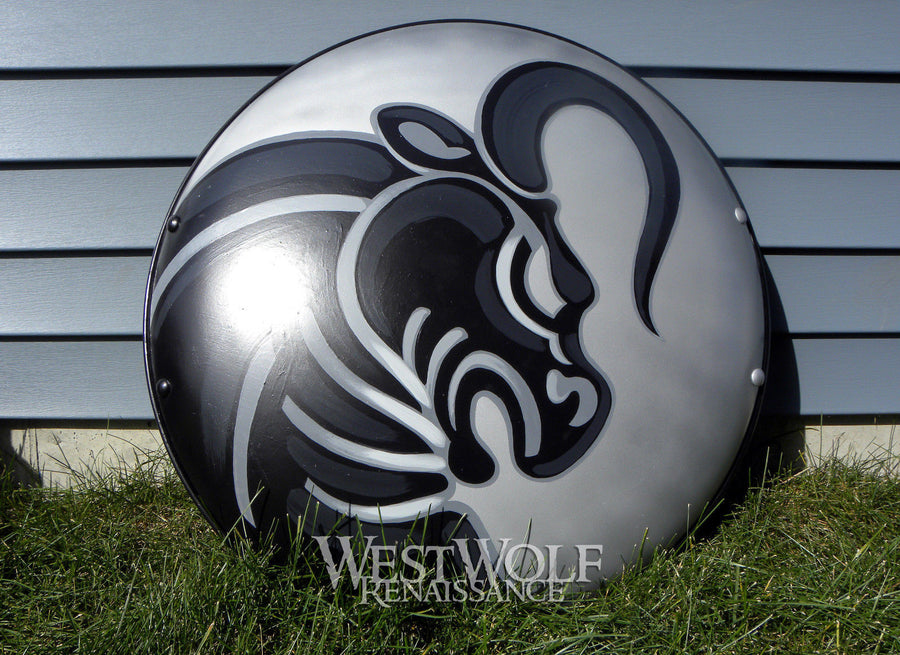 DOMED SILVER GREEK BULL SHIELD - Made of STEEL