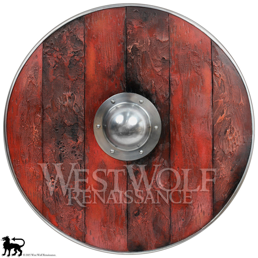 Aged Wood Viking Shield in Brimstone Red