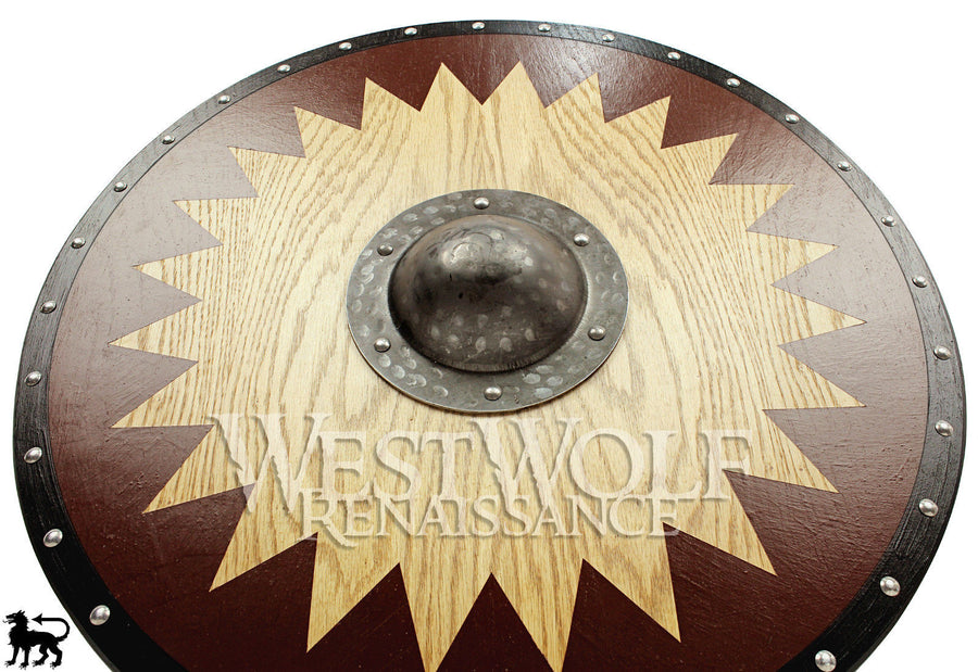 Viking Solid Oak Shield with Forged Iron Boss