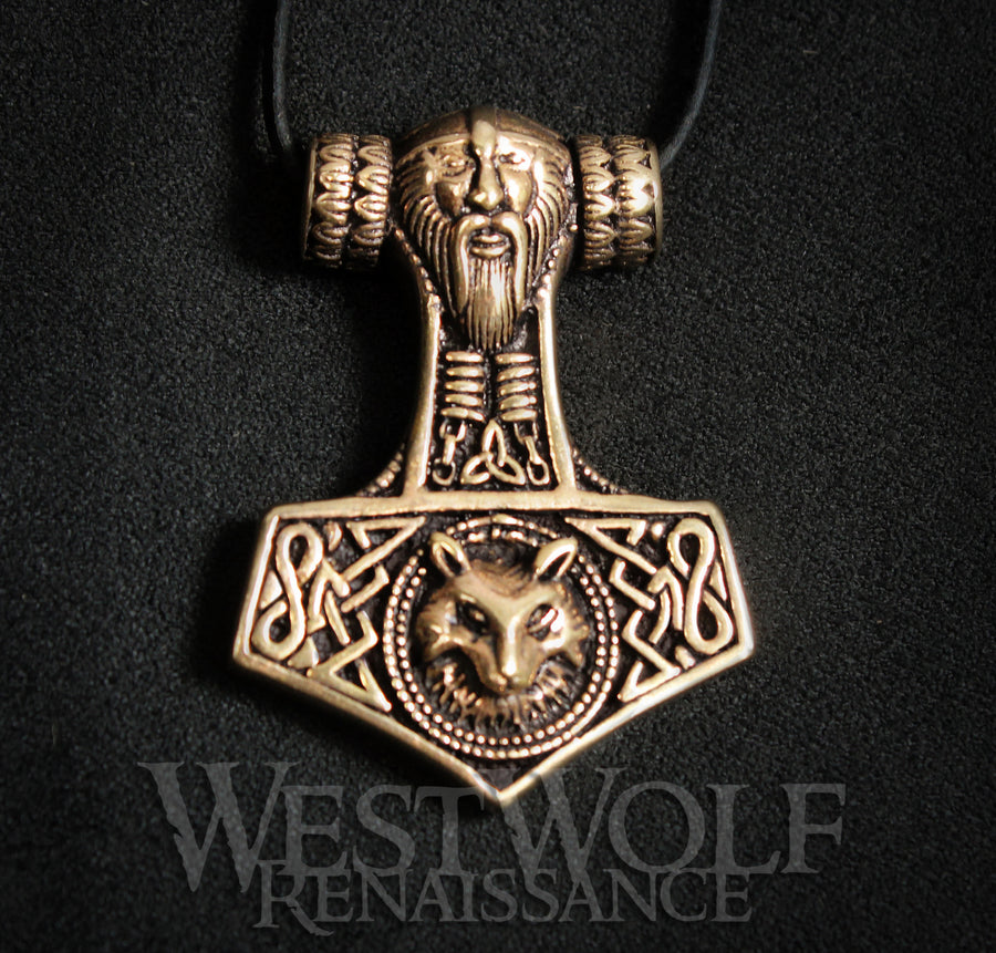 Bronze Viking Thor's Hammer Mjolnir Pendant with Odin and Wolf Head