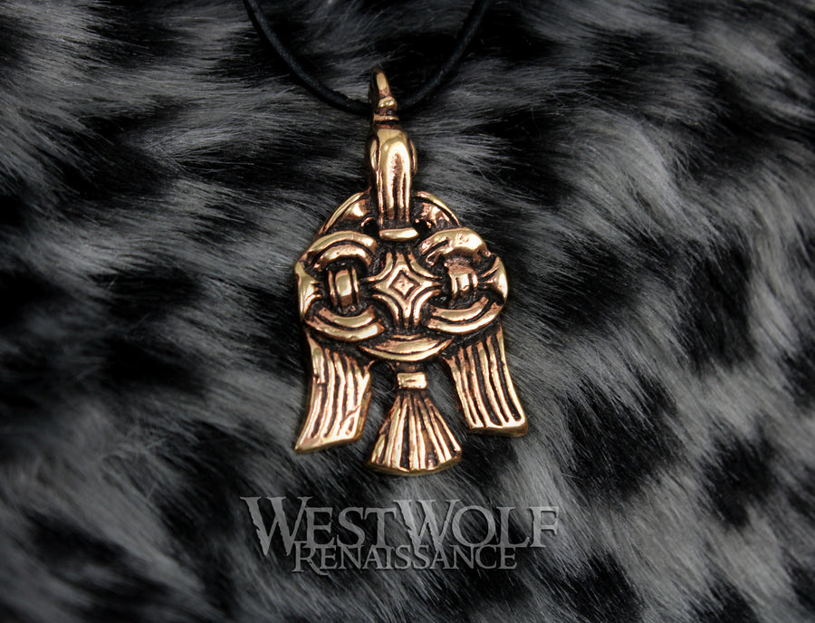 Bronze Viking Raven Pendant - Abstract Woven Art Style