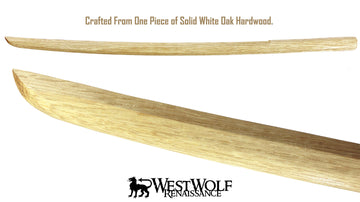 Japanese White Oak Practice Sword - Wooden Training Katana/Samurai/Bokken