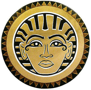 Large 34 Inch Gold Egyptian Pharoah Shield with Triangle Border Pattern