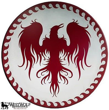 Large Greek Rising Phoenix Shield with Wave Border Pattern