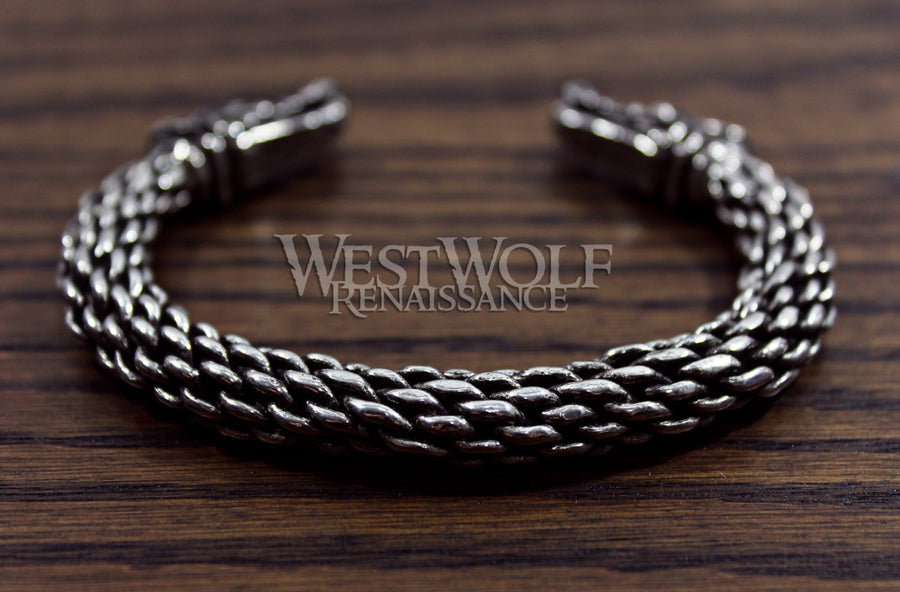Large Silver Viking Wolf Head Bracelet