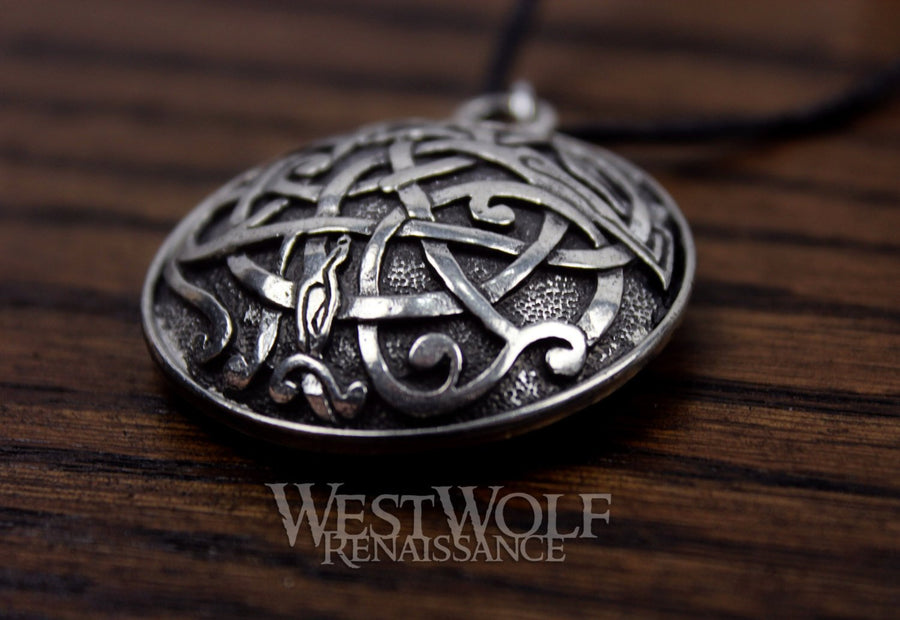 Large Round Celtic Kells Serpent Pendant