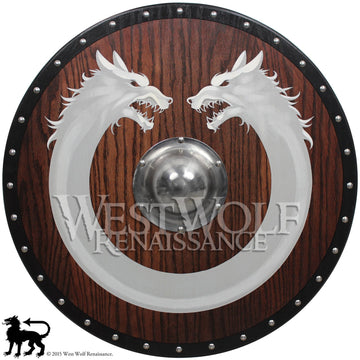 Red Oak Viking Wolf Ring Shield with Steel Boss