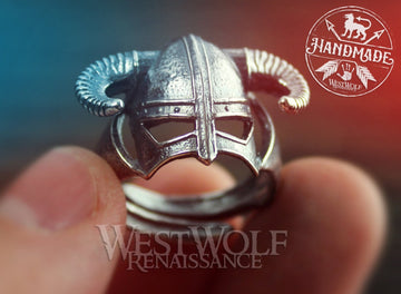 SKYRIM Iron Helmet Ring Made of .925 Sterling Silver - US Sizes 8/9/10/11/12/13/14