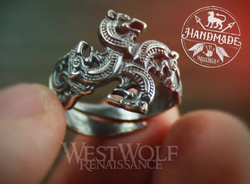 Viking Wolf Cross Ring - US Sizes 6/7/8/9/10 Made of 925 Sterling Silver