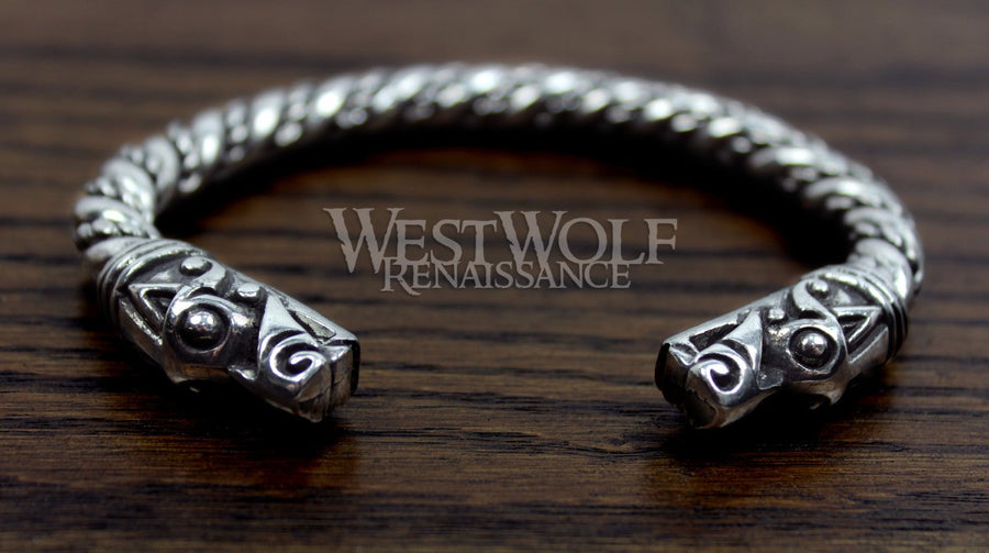Silver Viking Dragon Head Bracelet