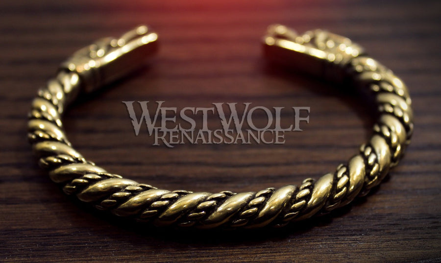 Viking Dragon Head Bracelet in Golden Bronze