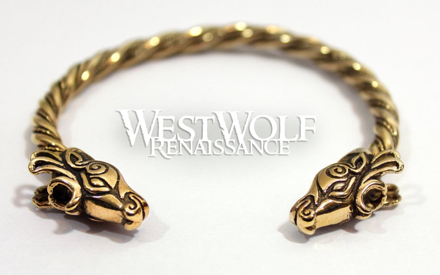 Celtic Deer Head Bracelet in Golden Bronze