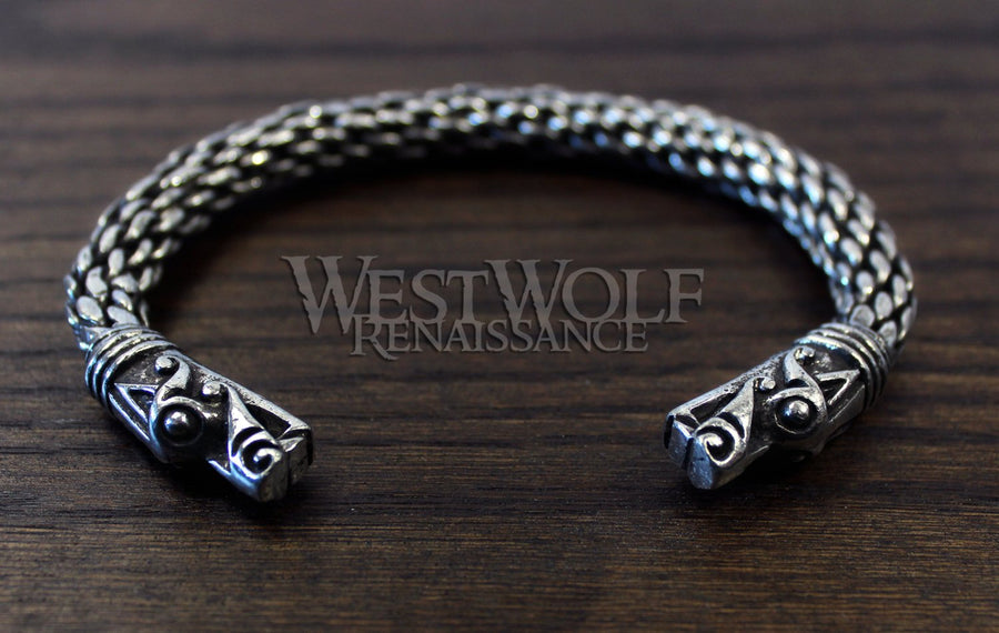 Large Silver Viking Dragon Head Bracelet