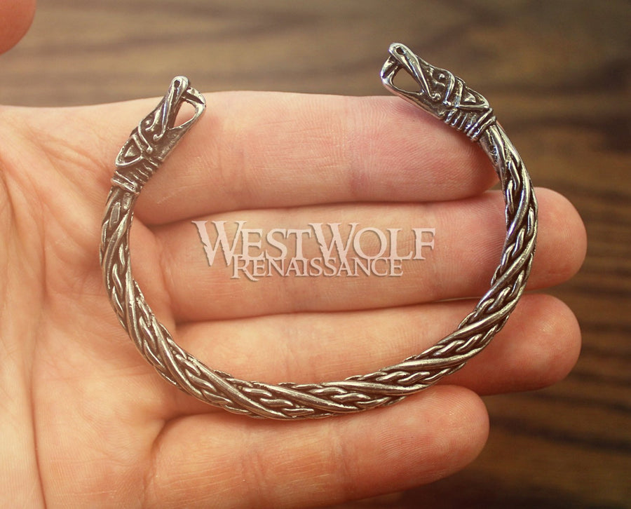 Smaller Size Viking Dragon's Head Bracelet in Silver or Gold