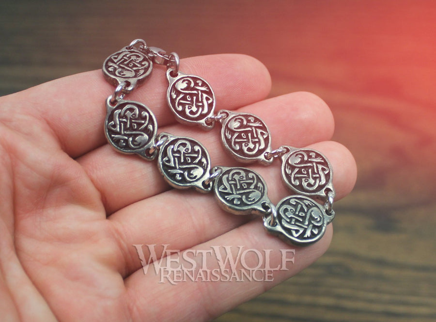 Viking Segmented Knotwork Disc Bracelet - with Dragon Knot Designs