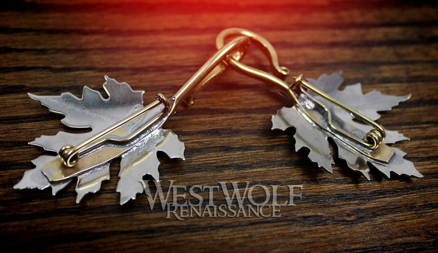 Maple Leaf Cloak Pins/Clasps Set - Made of White Bronze