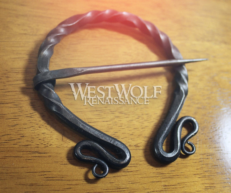 Hand-Forged Twisted Black Steel Brooch - 4 Inch Grand Iron Pennanular Cloak Pin