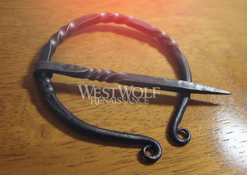Hand-Forged Twisted Black Steel Scottish Pennanular Brooch