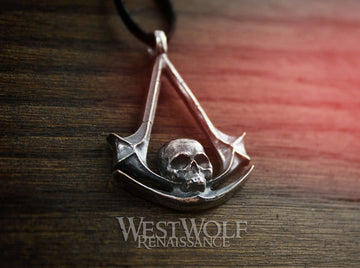 Assassin's Creed Skull Symbol Pendant - 925 Sterling Silver