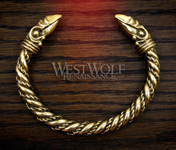 Gold Viking Odin's Raven Head Bracelet