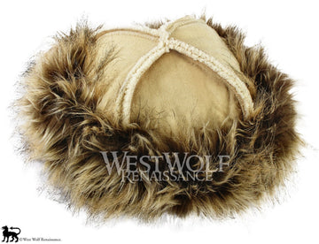 Desert Fox Fur-Trimmed Viking Hat with Beige Top