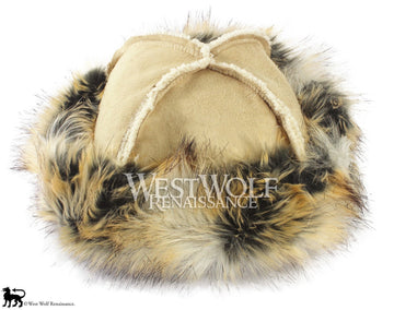 Wild Fox Fur-Trimmed Viking Hat - (Faux Fur)