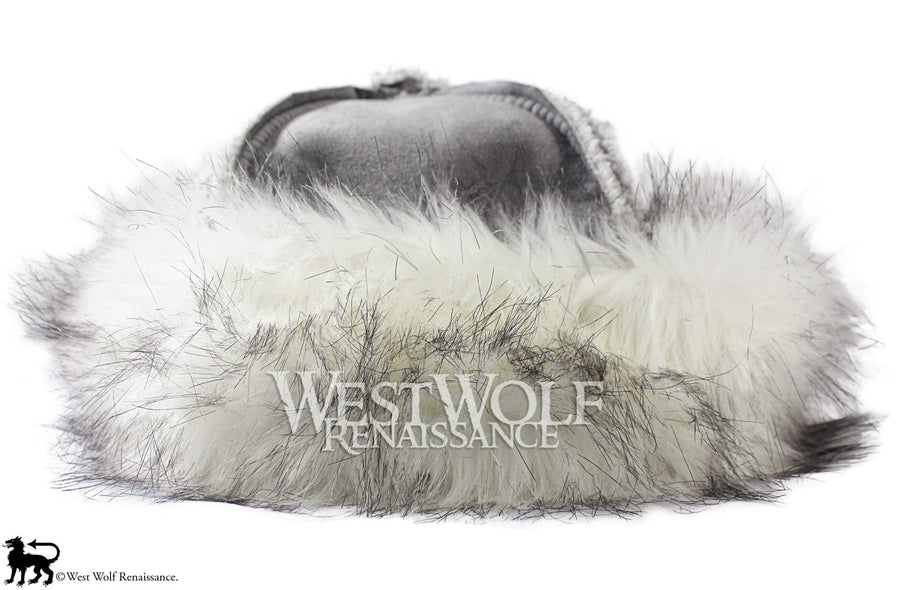 Winter Grey and White Fox Fur-Trimmed Viking Hat - (Faux Fur)