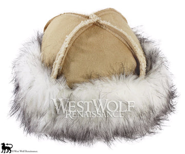 White Fox Fur-Trimmed Viking Hat - (Faux Fur)