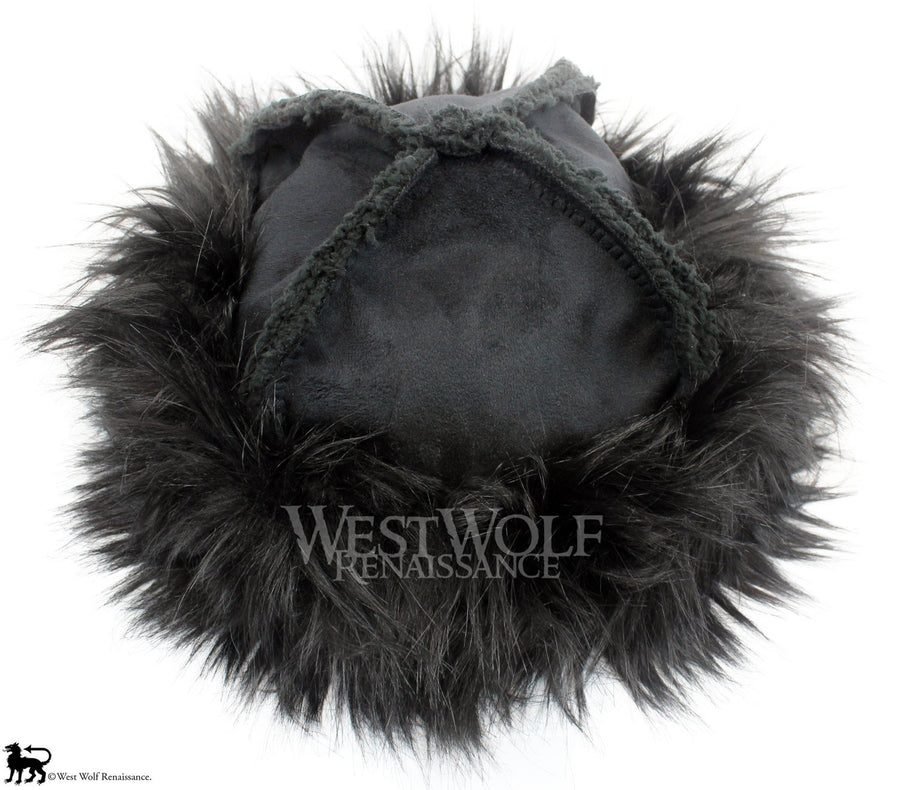 Black Fox Fur-Trimmed Viking Hat with Black Suede Top - (Faux Fur)
