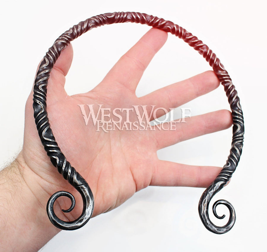 Hand-Forged Twisted Steel Medieval Neck Torc with Curled Terminals - Available in Multiple Sizes
