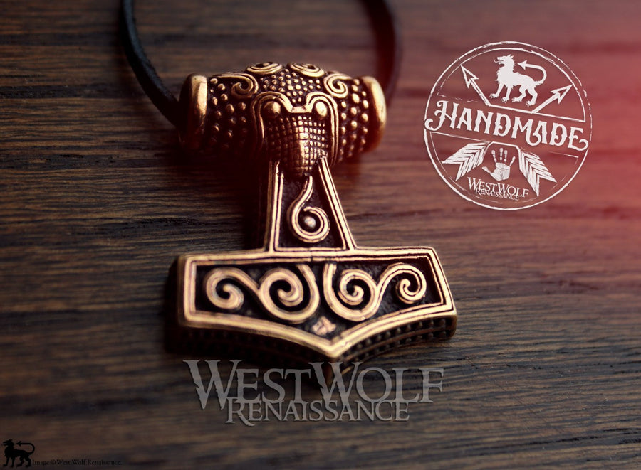 Bronze Viking Thor's Hammer Mjolnir Pendant - with Raven Head Design