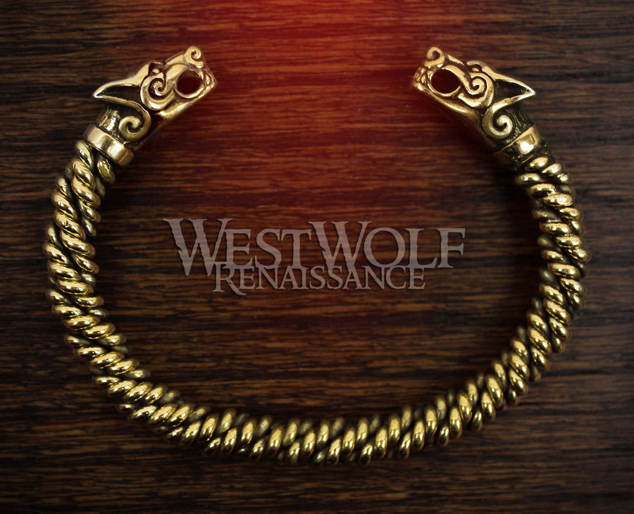 Viking Gold Fenrir Wolf Bracelet with Knitted Bangle
