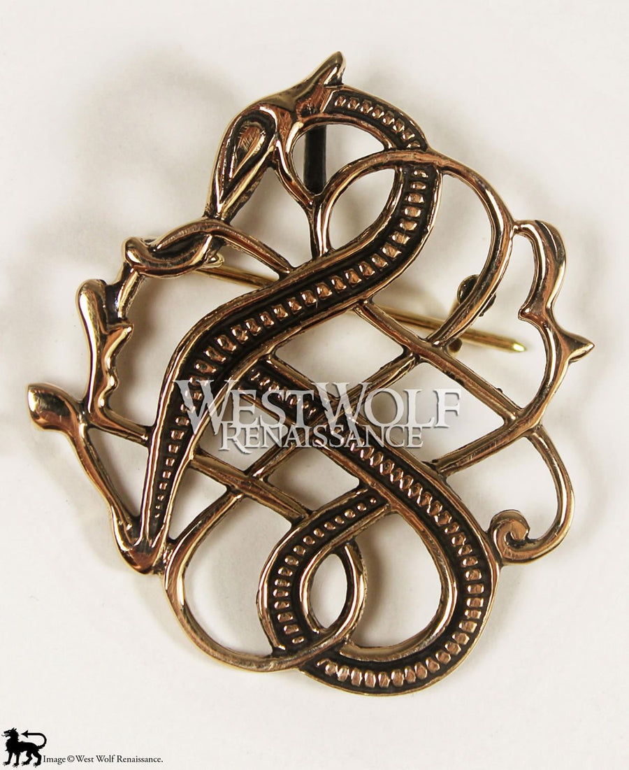 Viking Dragon Brooch in Polished Bronze