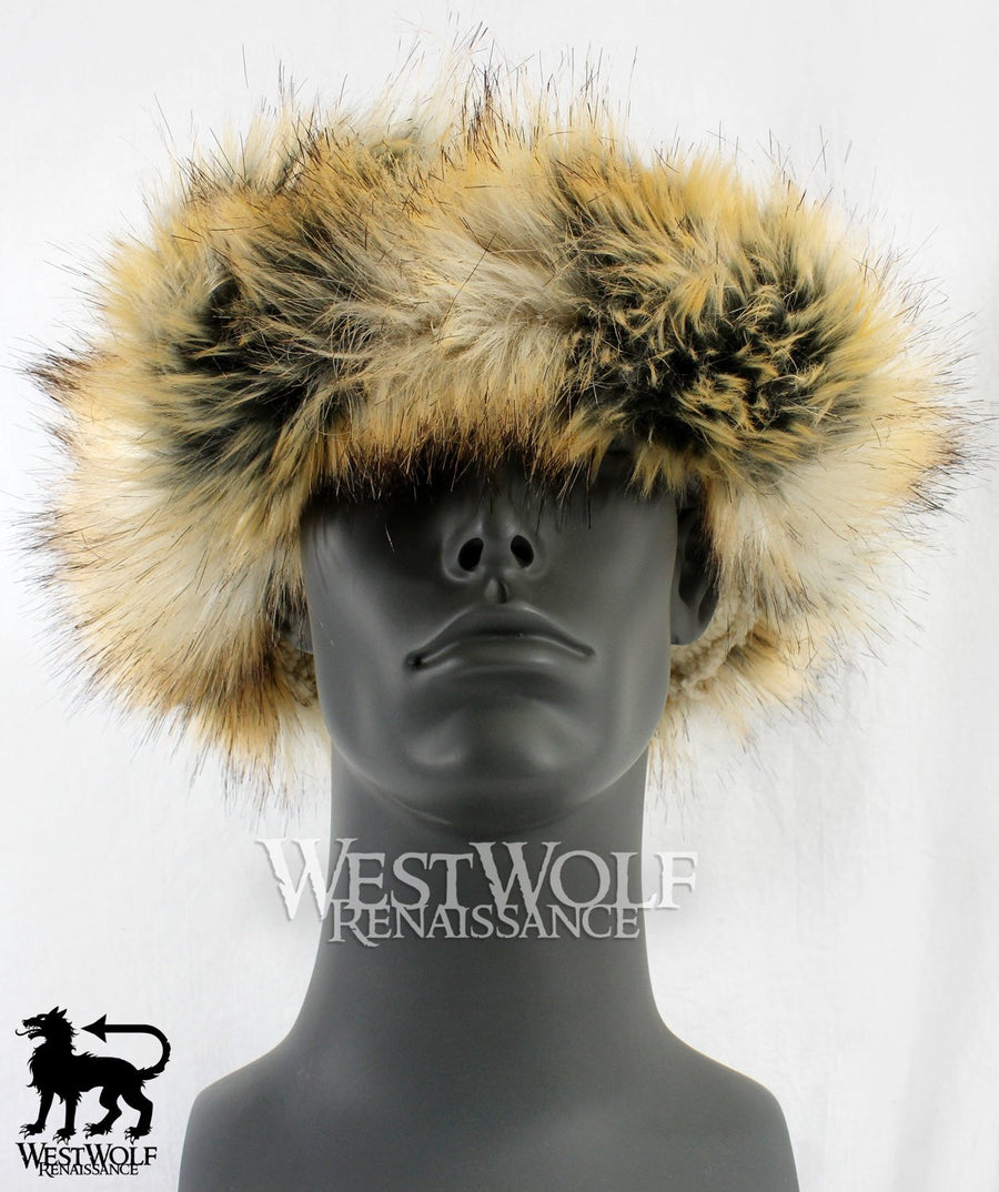Wild Fox Fur-Trimmed Viking Hat with Brown Top